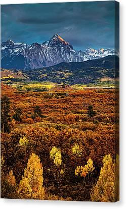 Rockies At Autumn Canvas Print by Andrew Soundarajan