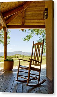 Rocking Chair At Ranch House Porch Canvas Print by Nicolas Russell
