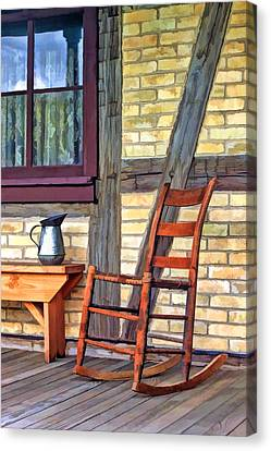 Rocking Chair On Porch At Old World Wisconsin Canvas Print by Christopher Arndt