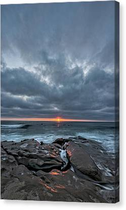 Rocks On Fire Canvas Print by Peter Tellone