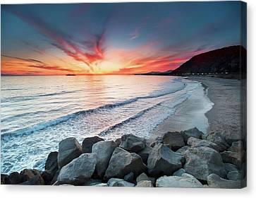 Rocks On Sea Canvas Print by John B. Mueller Photography
