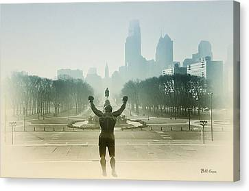 Rocky At The Top Of The Steps Canvas Print by Bill Cannon