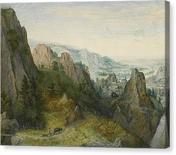 Rocky Landscape With Travellers On A Path Canvas Print by Lucas van Valckenborch