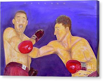 Rocky Marciano - Joe Louis - Original Oil Painting Canvas Print by Anthony Morretta