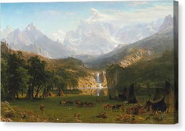 Rocky Mountains Canvas Print by Albert Bierstadt