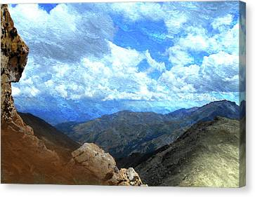 Rocky Mountains Vista Oil Painting Canvas Print by Design Turnpike