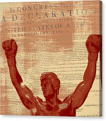 Rocky Statue Declaration Of Independence Canvas Print by Brandi Fitzgerald
