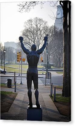 Rocky Statue From The Back Canvas Print by Bill Cannon