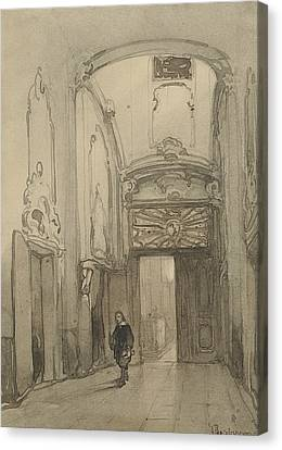 Rococo Portal In City Hall In The Hague With A Man In Seventeenth-century Costume Canvas Print by Johannes Bosboom