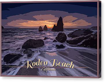 Rodeo Beach Vintage Tourism Poster Canvas Print by Rick Berk