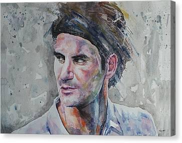 Roger Federer - Portrait 5 Canvas Print by Baresh Kebar - Kibar