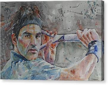 Roger Federer - Portrait 6 Canvas Print by Baresh Kebar - Kibar