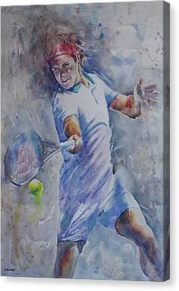 Roger Federer - Portrait 8 Canvas Print by Baresh Kebar - Kibar