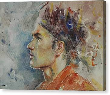 Roger Federer - Portrait 9 Canvas Print by Baresh Kebar - Kibar