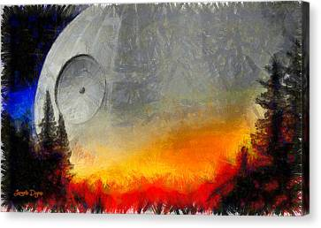 Rogue One Death Star - Pa Canvas Print by Leonardo Digenio