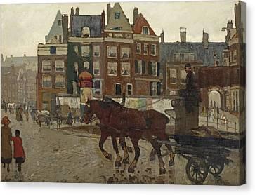 Rokin With Het Beurspoortje Canvas Print by George Hendrik