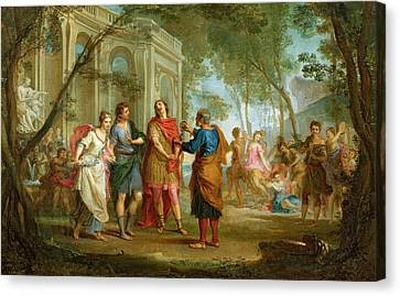 Roland Learns Of The Love Of Angelica And Medoro  Canvas Print by Louis Galloche