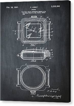 Rolex Watch Patent 1941 In Chalk Canvas Print by Bill Cannon