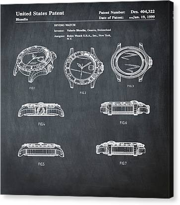 Rolex Watch Patent 1999 In Chalk Canvas Print by Bill Cannon