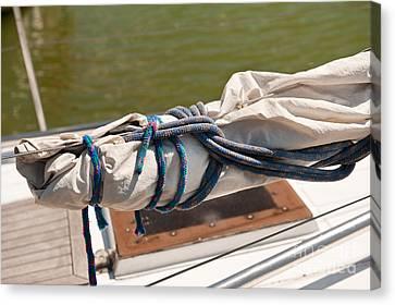Rolled Up Mast Sail Cloth Canvas Print by Arletta Cwalina