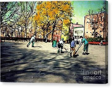 Roller Hockey In Bennett Park Canvas Print by Sarah Loft