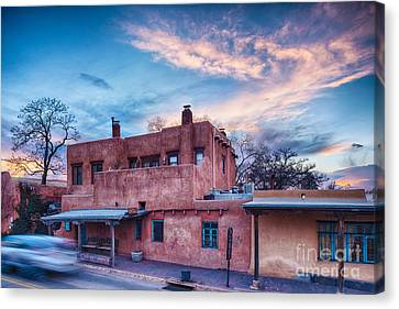 Rolling Through The Streets Of Santa Fe At Sunset - The City Different New Mexico Canvas Print by Silvio Ligutti