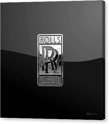 Rolls Royce - 3d Badge On Black Canvas Print by Serge Averbukh