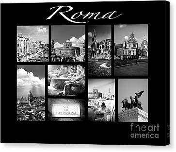 Roma Black And White Poster Canvas Print by Stefano Senise
