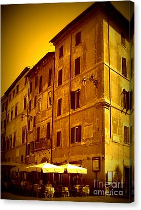 Roman Cafe With Golden Sepia 2 Canvas Print by Carol Groenen