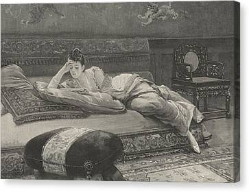 Romance And Repose Canvas Print by English School