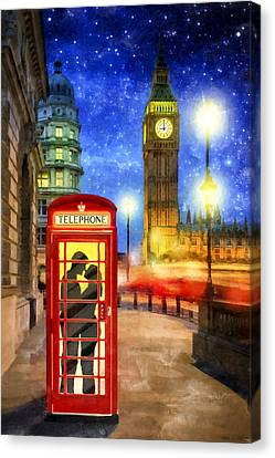 Romance In London By Starlight Canvas Print by Mark E Tisdale