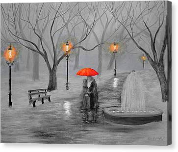 Romance In The Park Color Pop Canvas Print by Ken Figurski