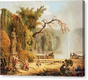 Romantic Garden Scene Canvas Print by Hubert Robert