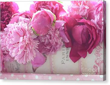 Romantic Pink Red Peonies - Shabby Chic Red Paris Pink Peonies Canvas Print by Kathy Fornal