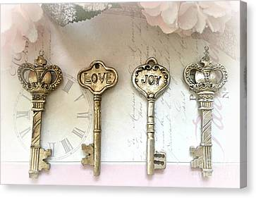 Romantic Shabby Chic Keys - Love Joy Gold And Silver Romantic Key Decor - Dreamy Keys Love Art Canvas Print by Kathy Fornal