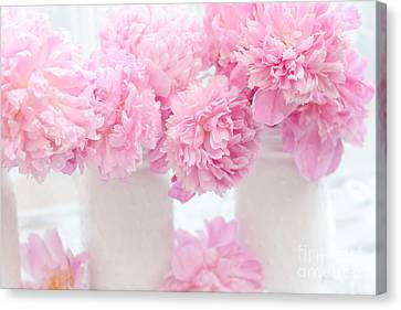 Romantic Shabby Chic Pink Pastel Peonies - Pink Peonies In White Mason Jars Canvas Print by Kathy Fornal