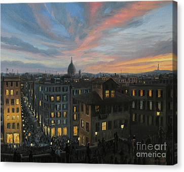 Rome In The Light Of Sunset Canvas Print by Kiril Stanchev