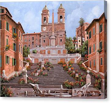 Rome-piazza Di Spagna Canvas Print by Guido Borelli