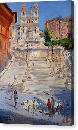 Rome Piazza Di Spagna Canvas Print by Ylli Haruni