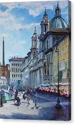 Rome Piazza Navona Canvas Print by Ylli Haruni