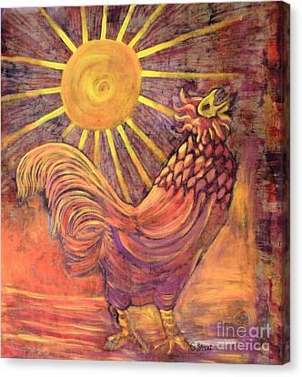 Rooster Batik Canvas Print by Caroline Street