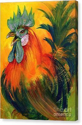 Rooster Of Another Color Canvas Print by Summer Celeste