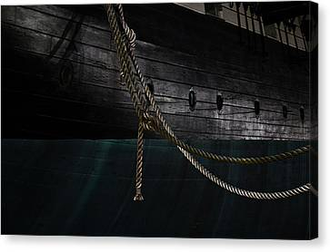 Ropes On The Uss Constellation Navy Ship Canvas Print by Marianna Mills