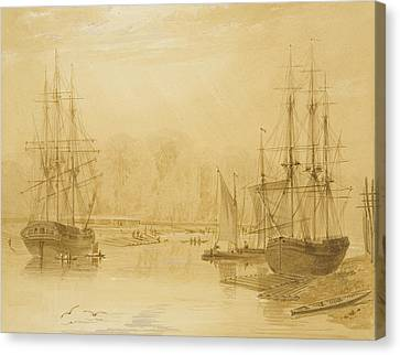 Ropewalk At Wapping, West Indiaman Union On Left, 1826  Canvas Print by Thomas Leeson the Elder Rowbotham