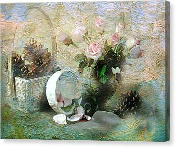 Rose Buds And Cones Canvas Print by Diana Angstadt