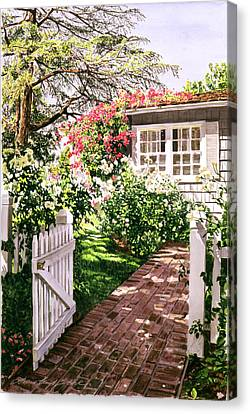 Rose Cottage Gate Canvas Print by David Lloyd Glover