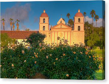 Rose Garden At Santa Barbara Mission Canvas Print by Connie Cooper-Edwards