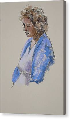 Rose In Her Blue Shawl Canvas Print by Mary McInnis