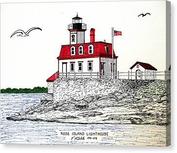 Rose Island Lighthouse Canvas Print by Frederic Kohli