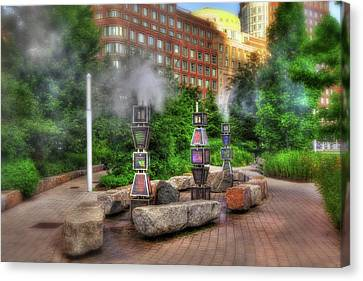Rose Kennedy Greenway Steam Sculpture Garden - Boston Canvas Print by Joann Vitali